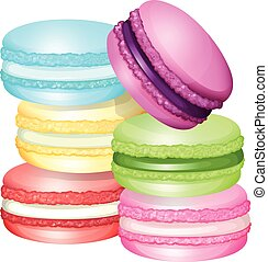 Macaron in different flavors illustration