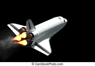 Space Shuttle - Space shuttle flying 3d rendering.