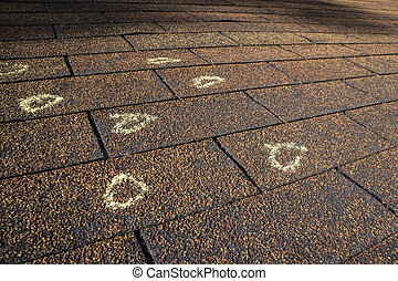 Marked Hail Damage On A Roof - Insurance Adjuster marked...