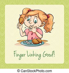 Girl eating fried chicken illustration