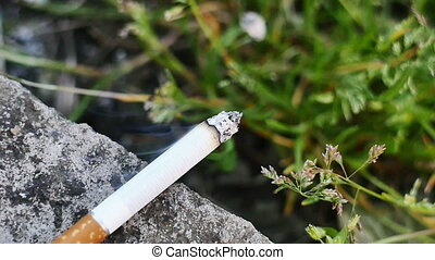 cigarette in grass slow motion