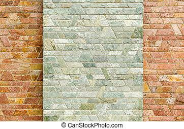 patrón, de, rojo, pizarra, piedra, pared, superficie,...