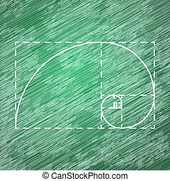 Golden ratio on school blackboard - Golden ratio, 2d vector,...