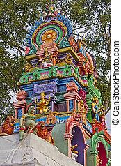 detalle, de, el, hindú, templo,