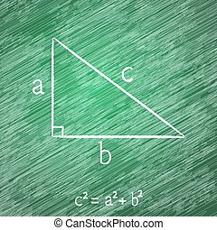 Pythagorean theorem on blackboard - Illustration of the...