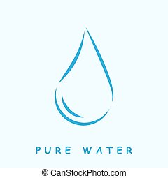 Pure water logo, 2d vector icon on light blue background,...