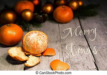 フレーム, フルーツ, クリスマス, カード