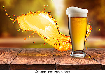 Beer in glass with splash on wooden table against autumn leaves
