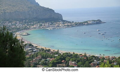 Mondello beach areal view