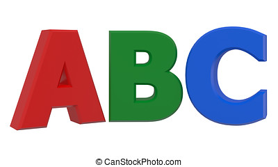 ABC 3d word isolated on white background