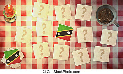 st kitts & nevis flag matching card vintage styles