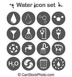 Water icon set, 16 signs, 2d vector, eps 8