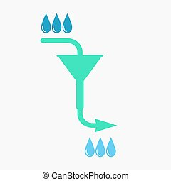 Water filtration concept, 2d vector on gray background, eps...