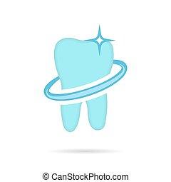 Dental logo, dent icon on white background, 2d vector, eps 8