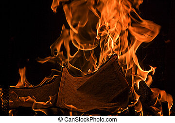Book Burning Red Fire Flames of Hell - Book or Maganize...