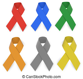 Ribbons - Multiple Awareness Ribbons Isolated On White With...