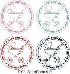 Set of vintage and retro baby friendly stamps
