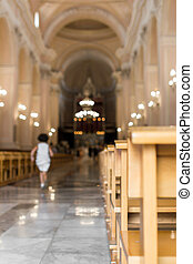 Church nave - A little girl runs in the nave of a church, to...