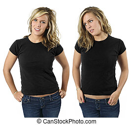 Female with blank black shirts - Young beautiful blond...