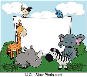 Animal safari white banner