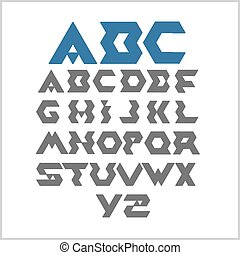 Font from triangles  - vector set.