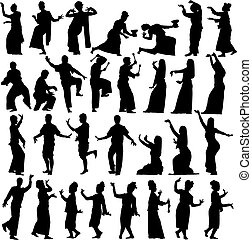 Thai dancers - Set of editable vector silhouettes of...