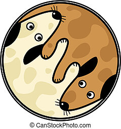Yinyang dogs - Vector yin and yang design of two dogs...