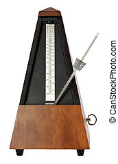 Mechanical Musicial Metronome on white background arm moving...