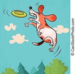 Dog with frisbee - Illustration of funny dog jumping to...