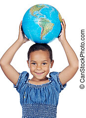 Girl with a globe of the world on her head a over white...