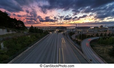 Time Lapse of Sunset Seattle WA 4k - Ultra High Definition...