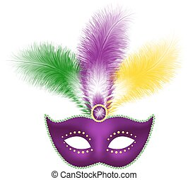 Mardi Gras mask isolated on white - Mardi Gras mask with...