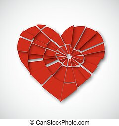 Broken heart isolated on white background, stock vector...