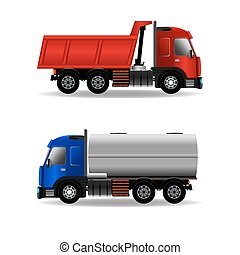 Cargo trucks isolated on white, stock vector graphic...