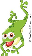 Cute frog jumping - Vector illustration of Cute frog jumping