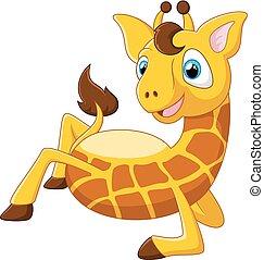 Cartoon giraffe lie down - Vector illustration of Cartoon...