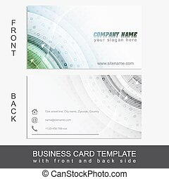 Business card template with front and back side and abstract...