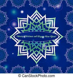 Christmas and New Year ornate cards with holiday symbol star on winter background in modern style. Dark blue color.