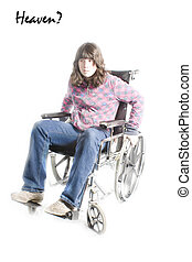 Young Girl in Wheel Chair in Heaven - Young Girl in Wheel...