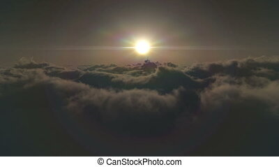 fly over clouds sunset