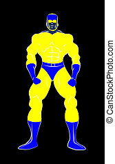 Muscle shaped generic male superhero in tight blue and...