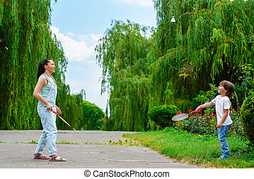 羽毛球, 兒子, 公園, 玩, 母親