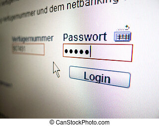 password entry for online banking - on the monitor of a...