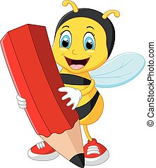Bee cartoon holding red pencil