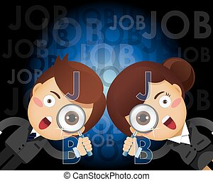 businessman and woman with magnifying glass searching for...