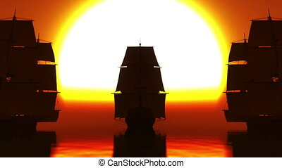 old ship sunset in sea