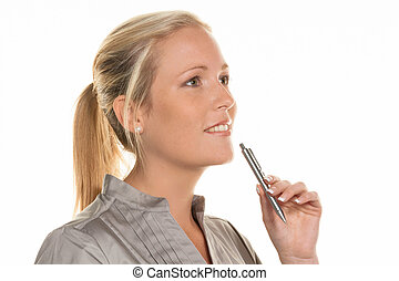 thoughtful woman with pen - a pensive young woman with a...
