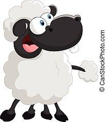 Cartoon cute sheep - Vector illustration of Cartoon cute...