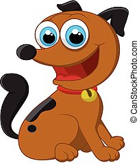 Cartoon adorable dog sitting - Vector illustration of...
