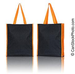 black shopping fabric bag on white background